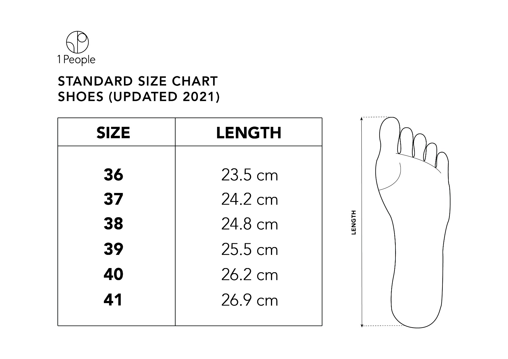 Size Chart for 1 People's Shoes